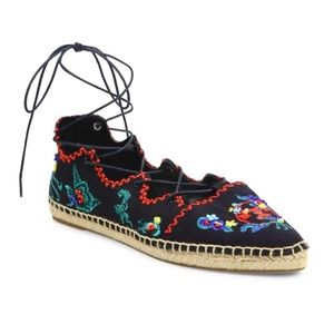 Tory Burch Sonoma Embroidered lace-up espadrille